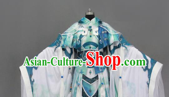 Customize Chinese Traditional Cosplay Taoist King Blue Costumes Ancient Swordsman Clothing for Men