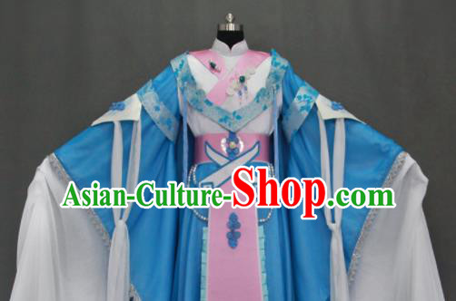 Traditional Chinese Cosplay Court Princess Blue Dress Ancient Drama Female Swordsman Costumes for Women