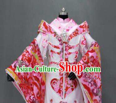 Traditional Chinese Cosplay Fairy Queen Pink Dress Ancient Drama Female Swordsman Costumes for Women