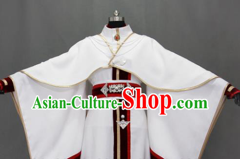 Customize Chinese Traditional Cosplay Prince White Costumes Ancient Swordsman Clothing for Men