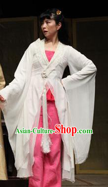 Chinese Drama I Love Taohua Classical Dance White Dress Stage Performance Costume and Headpiece for Women