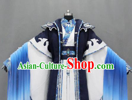 Customize Chinese Traditional Cosplay Taoist Nobility Childe Navy Costumes Ancient Swordsman Clothing for Men
