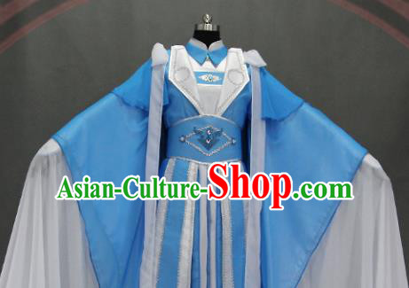 Traditional Chinese Cosplay Goddess Empress Blue Dress Ancient Drama Female Swordsman Costumes for Women
