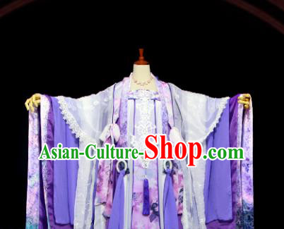 Traditional Chinese Cosplay Imperial Consort Purple Dress Ancient Drama Female Swordsman Costumes for Women