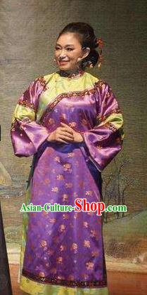 Chinese Drama Lin Zexu Classical Dance Purple Dress Stage Performance Costume and Headpiece for Women