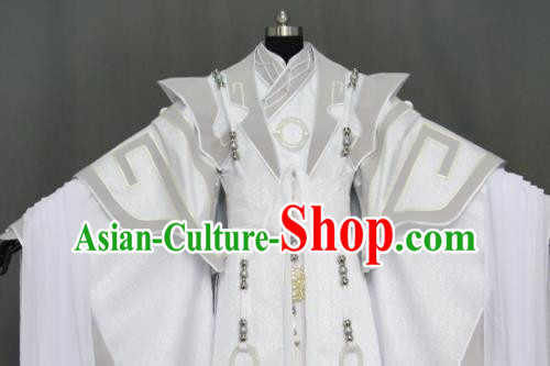 Customize Chinese Traditional Cosplay Nobility Childe Prince White Costumes Ancient Swordsman King Clothing for Men