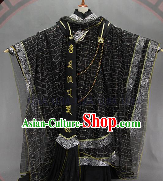 Customize Chinese Traditional Cosplay Monk Black Costumes Ancient Swordsman Clothing for Men