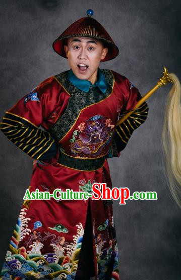 Chinese The Burning Of The Imperial Palace Ancient Qing Dynasty Eunuch Red Clothing Stage Performance Dance Costume for Men