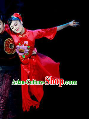 Chinese Female Embroider Classical Dance Red Dress Stage Performance Costume and Headpiece for Women