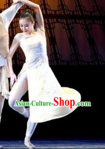Chinese Female Embroider Classical Dance White Dress Stage Performance Costume and Headpiece for Women