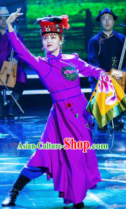 Chinese Prairie Female Embroider Mongol Nationality Dance Purple Dress Stage Performance Costume and Headpiece for Women