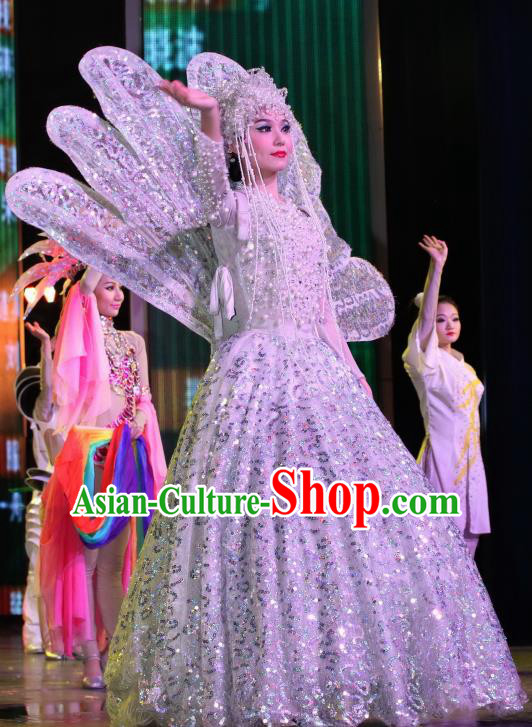 Chinese Night Of West Lake Classical Flower Dance White Dress Stage Performance Costume and Headpiece for Women