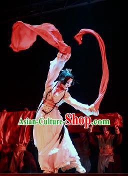 Chinese Drama Prince of Lanling Ancient Court Classical Dance White Dress Stage Performance Dance Costume and Headpiece for Women