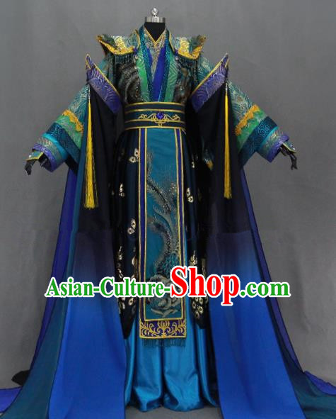 Customize Chinese Traditional Cosplay Royal Highness Blue Costumes Ancient King Swordsman Clothing for Men