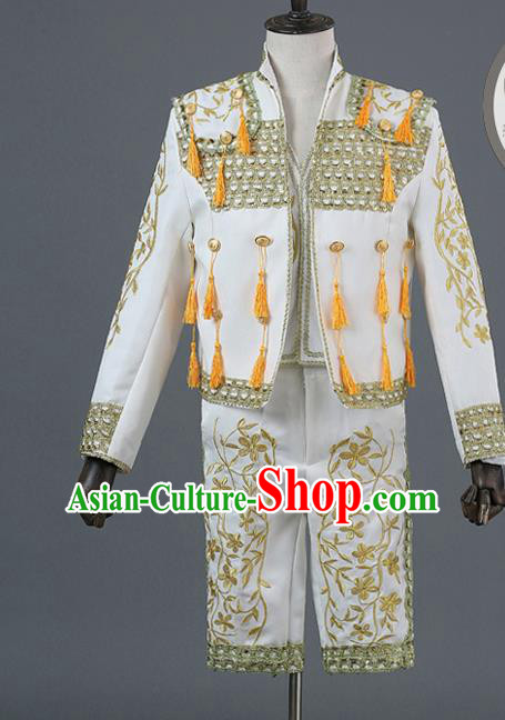 Traditional European Prince Costumes Spanish Court White Clothing for Men