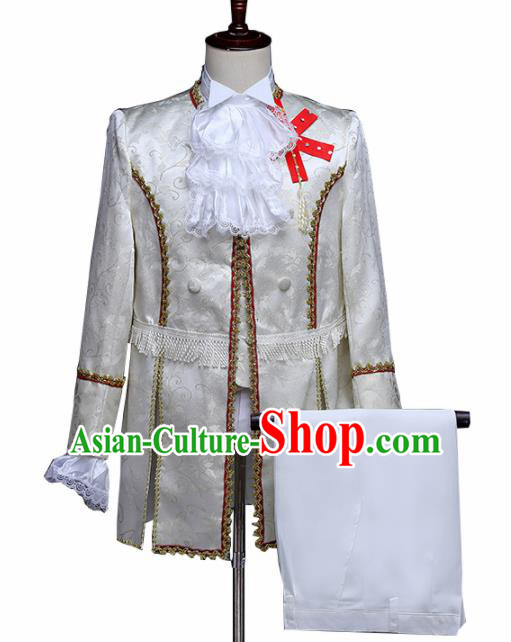 Traditional European Prince White Costumes Spanish Court Stage Show Clothing for Men