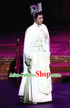 The Empress of China Ancient Tang Dynasty Emperor Li Zhi White Clothing Stage Performance Dance Costume for Men