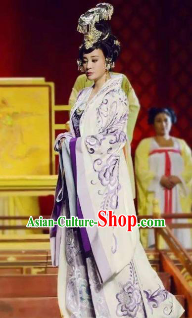 The Empress of China Ancient Tang Dynasty Court Queen White Dress Stage Performance Dance Costume and Headpiece for Women