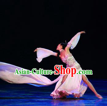 Chinese Impression of Suzhou Classical Dance Dress Stage Performance Costume and Headpiece for Women