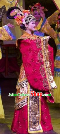 Chinese Impression of Suzhou Classical Dance Queen Red Dress Stage Performance Costume and Headpiece for Women