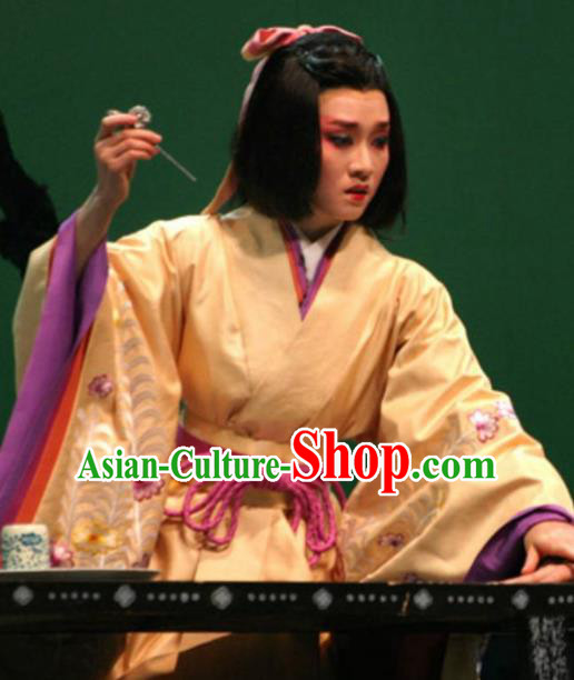 The Legend of Chunqin Shaoxing Opera Japan Kabuki Yellow Kimono Dress Stage Performance Costume and Headpiece for Women