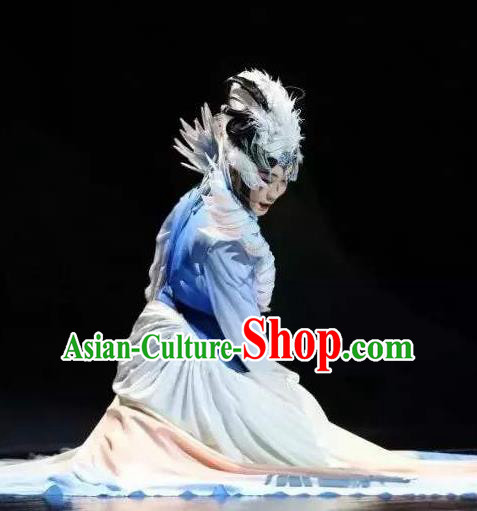 Chinese Zhaojun Chu Sai Ancient Classical Dance Blue Dress Stage Performance Dance Costume and Headpiece for Women