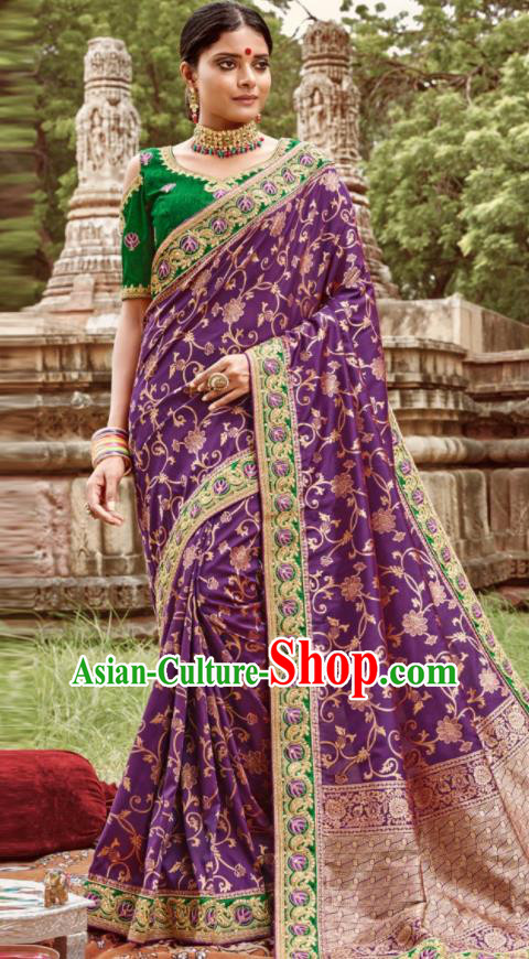 Asian Indian Bollywood Bride Embroidered Purple Sari Dress India Traditional Court Wedding Costumes for Women