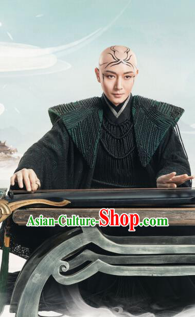 Chinese Ancient Royal Advisor Jing Xiu Black Clothing Drama Love and Destiny Swordsman Replica Costumes for Men