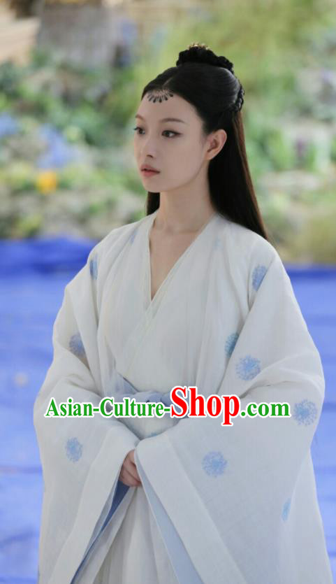 Chinese Ancient Nobility Lady White Dress Drama Love and Destiny Goddess Princess Ling Xi Ni Ni Replica Costumes and Headpiece for Women