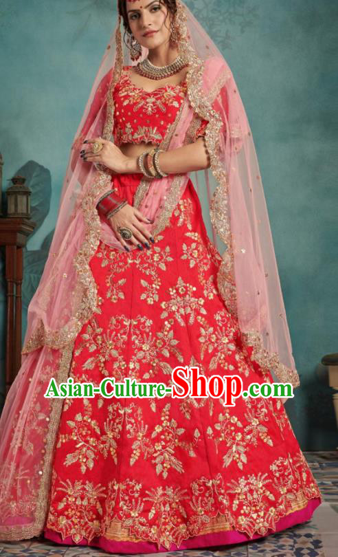 Indian Traditional Court Wedding Lehenga Bollywood Embroidered Rosy Dress Asian India National Festival Costumes for Women