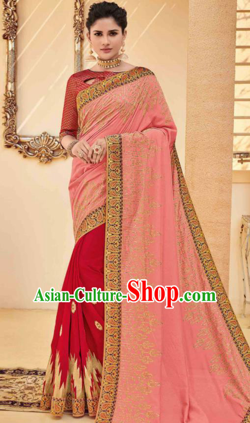 Traditional Indian Saree Pink and Red Silk Sari Dress Asian India National Festival Bollywood Costumes for Women