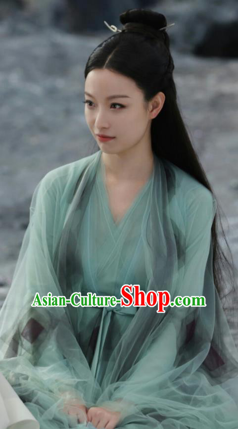 Chinese Drama Ancient Goddess Green Dress Love and Destiny Ling Xi Ni Ni Replica Costumes for Women