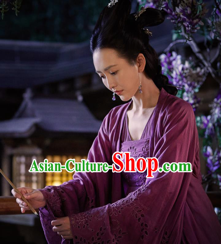 Chinese Ancient Spirit Fairy Purple Dress Drama Novoland Eagle Flag Female Assassin Su Shunqing Wang Ou Replica Costumes for Women