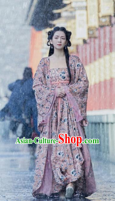 Chinese Drama Novoland Eagle Flag Ancient Princess of Yin Empire Bai Zhouyue Replica Costumes and Headpiece for Women