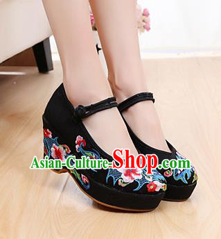 Chinese Wedding Black High Heels Shoes Traditional Hanfu Shoes Opera Shoes Embroidered Shoes for Women