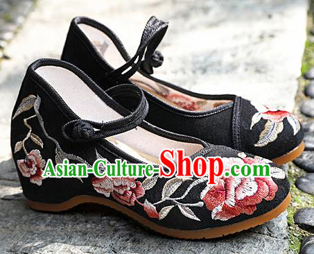 Chinese National Black Shoes Traditional Hanfu Shoes Opera Shoes Embroidered Shoes for Women
