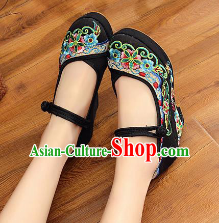 Chinese National Black High Heels Shoes Traditional Hanfu Shoes Opera Shoes Embroidered Shoes for Women