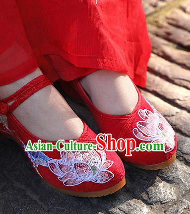 Chinese National Embroidered Lotus Red Shoes Traditional Hanfu Shoes Opera Shoes Wedding Bride Shoes for Women