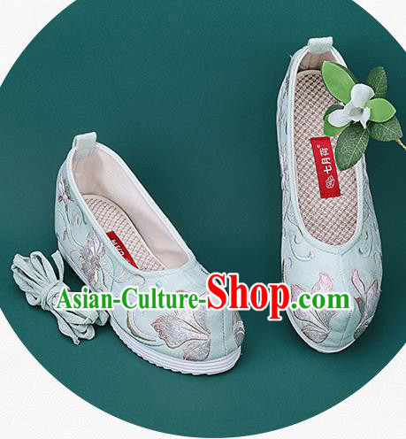 Chinese National Winter Brushed Green Embroidered Shoes Traditional Hanfu Shoes Princess Shoes Opera Shoes for Women