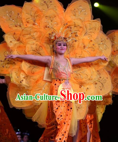 Chinese Impression of Suzhou Classical Flower Dance Orange Dress Stage Performance Costume and Headpiece for Women