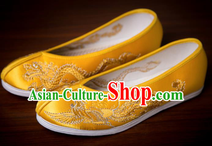 Traditional Chinese Handmade Golden Satin Shoes Hanfu Shoes Embroidered Shoes for Women