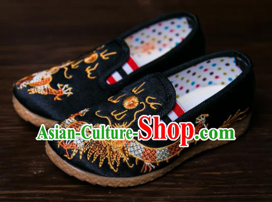 Handmade Chinese Traditional New Year Embroidered Dragon Black Shoes National Shoes Hanfu Shoes for Kids