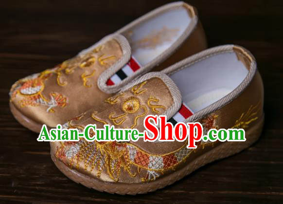 Handmade Chinese Traditional New Year Embroidered Dragon Golden Shoes National Shoes Hanfu Shoes for Kids
