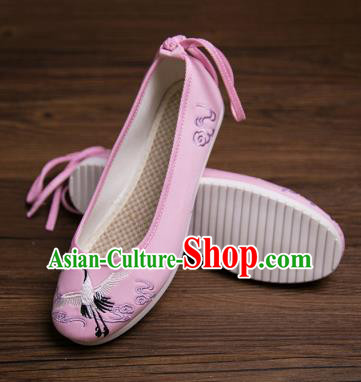 Traditional Chinese Handmade Hanfu Shoes Embroidered Crane Pink Shoes Cloth Shoes for Women