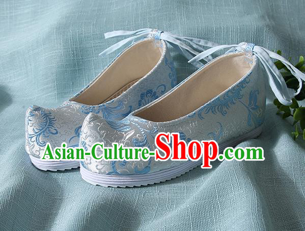 Traditional Chinese Blue Brocade Shoes Handmade Wedding Shoes Hanfu Shoes Princess Shoes for Women