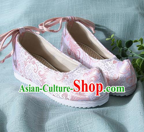 Traditional Chinese Pink Brocade Shoes Handmade Wedding Shoes Hanfu Shoes Princess Shoes for Women