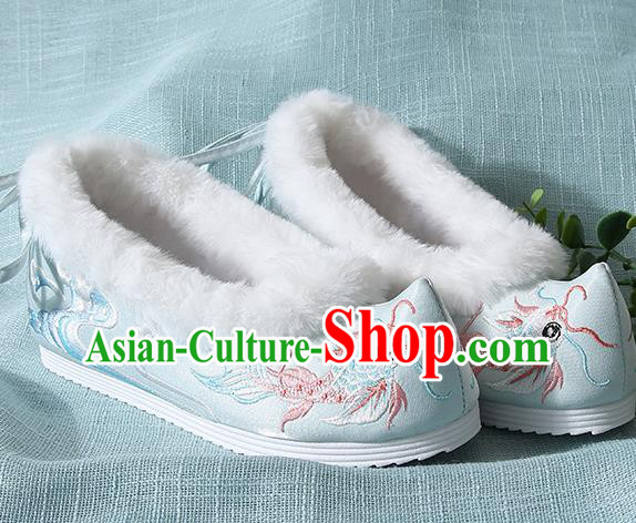 Traditional Chinese Handmade Embroidered Goldfish Light Blue Shoes Wedding Shoes Hanfu Shoes Princess Shoes for Women