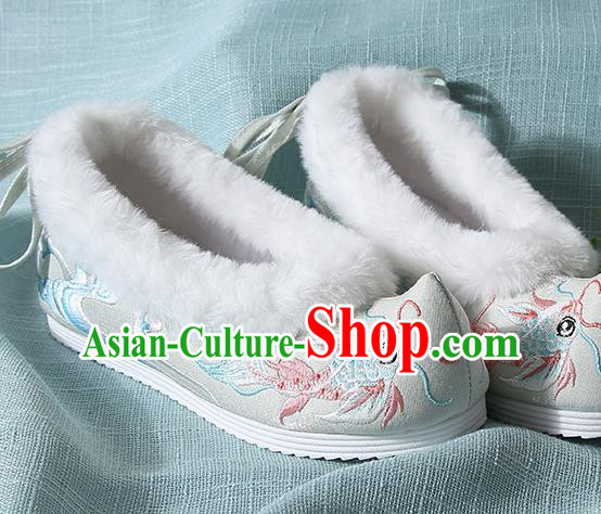 Traditional Chinese Handmade Embroidered Goldfish Light Green Shoes Wedding Shoes Hanfu Shoes Princess Shoes for Women