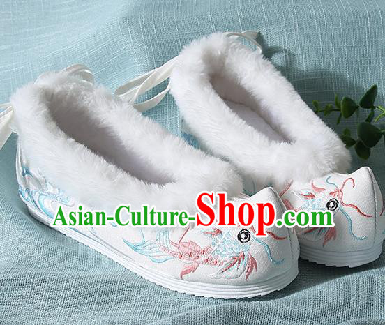 Traditional Chinese Handmade Embroidered Goldfish White Shoes Wedding Shoes Hanfu Shoes Princess Shoes for Women
