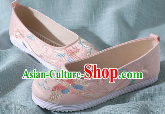 Traditional Chinese Handmade Embroidered Pink Shoes Wedding Shoes Hanfu Shoes Princess Shoes for Women